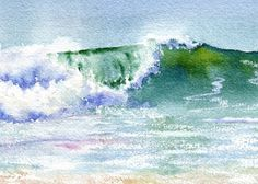 New Wave Seascape with breaking wave giclee von maryellengolden