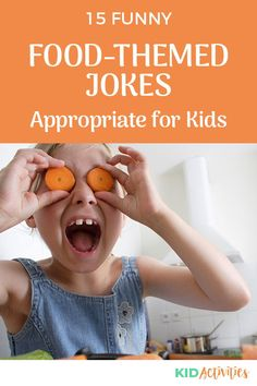 A collection of funny food themed jokes for kids. Great for the classroom, at home, and anywhere in-between. #KidActivities #KidGames #ActivitiesForKids #FunForKids #IdeasForKids #Jokes Funny Food Jokes, Kid Jokes, Funny Riddles, Funny Jokes For Kids, Silly Jokes, Food Humor, Hilarious, Funny Knock Knock Jokes, Brain Teasers For Kids