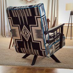 Pendleton wool upholstery, refurbished chair, painted wood with patina, contrast welt.  Vintage, western, retro, southwest, up cycled
