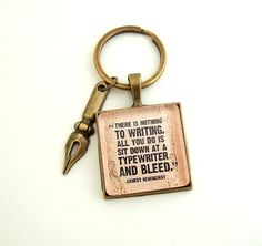 Ernest Hemingway Key Ring Quote Jewelry Quote Keychain Key Ring Holder Gift for Writer Literary Jewelry Author Quote Book Lover Jewelry by FragileEliteDesign on Etsy https://www.etsy.com/listing/183966847/ernest-hemingway-key-ring-quote-jewelry