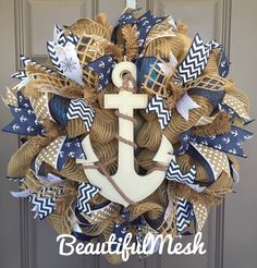 Anchor Nautical Burlap Deco Mesh Wreath With Navy, Beach Decor, Anchor Front Door Wreath – Beach wreaths - Burlap Wreath Deco Theme Marin, Beach Crafts, Diy Crafts, Couronne Diy, Nautical Wreath, Anchor Wreath, Cross Wreath, Deco Mesh Ribbon, Diy Wreath