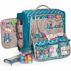The 360 Crafter's Rolling Bag from We R Memory Keepers has space to fit almost any crafting supply you can think of! This rolling bag will astound you with its incredible storage capacity. Paper Storage, Craft Storage, Bag Storage, Cute School Supplies, Craft Supplies, Planner Supplies, Office Supplies, Rangement Art, Rolling Bag
