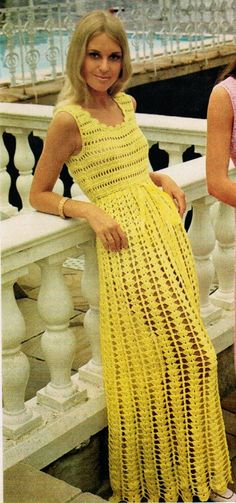 Long Sleeveless Empire Waist Dress PDF Crochet Pattern Scintillating fashion is yours with this crochet pattern for a long sleeveless dress! The dress has scoop neckline, empire waist and flared, full length. Crochet Summer Dresses, Black Crochet Dress, Crochet Skirts, Crochet Clothes, Knit Dress, Jumper Dress, Dress Summer, Vintage Crochet Dresses, Crochet Cardigan