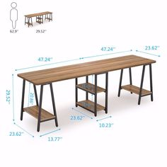 Inches Computer Desk, Extra Long Two Person Desk with Storage Shelf House Design, Computer Desk, Furniture, Desk Storage, Home, Double Desk, Home Office Decor, Desk Design, Two Person Desk