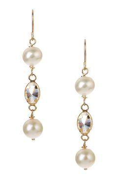 14K Yellow Gold Freshwater 6mm Pearl & CZ Dangle Earrings