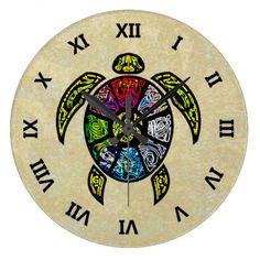 Turtle Ba-Gua Wallclocks - This turtle proudly bears upon his shell the Ba-Gua colors, swirling in a neon-bright interpretation, according to Black Hat school of Feng Shui. Display this colorful graphic design to honor the tortoise-shell from which Feng Shui and all of the Chinese arts developed. To make this item truly your own, click customize to you can choose your favorite background color.