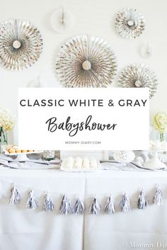 Classic Gender Neutral White & Gray Baby Shower
