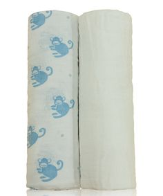 White & Blue Monkey Muslin Swaddling Blanket Set