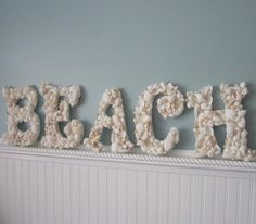 Beach Decor Seashell Letters - Nautical Shell Letters Spell BEACH