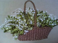 Lilies of the valley in a basket  #ribbonEmbroidery