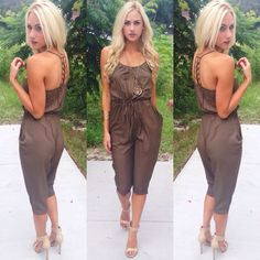 "Keep things steamy in this NEW ""cargo jumpsuit"" ($39.99) available at #sophieandtrey and online at www.sophieandtrey.com! #fall #style #girl #newarrival"