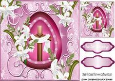 Pretty Pink Egg, With Cross And White Lillies 8x8