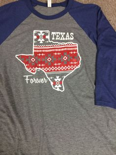 This Texas Forever Shirt is cute and comfy! Canvas 3/4 sleeve baseball tshirt! Small-2XL available.