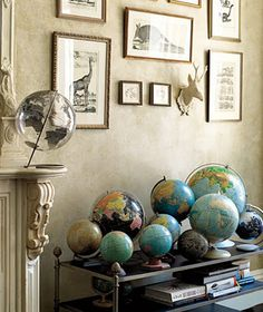 Collections of globes & vintage prints