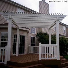 Platform Deck in St. Louis with Pergola Screened In Patio, Deck With Pergola, Outdoor Pergola, Pergola Kits, Pergola Ideas, Pergola Cover, Landscaping Ideas, Backyard Ideas, White Pergola