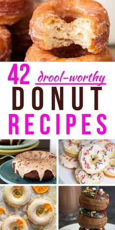 42 of the very best donut recipes ever! These look so delicious. 42 of the very best donut recipes ever! These look so delicious. You have to try these mouthwatering homemade donuts Best Donut Recipe, Baked Donut Recipes, Baking Recipes, Healthy Donuts, Delicious Donuts, Yummy Food, Baking Buns, Baking And Pastry, Donuts