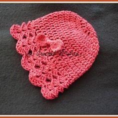 Bonnet bebe fille au crochet coton  1 an