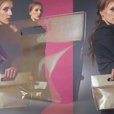 Photo collage by Silke Mayer (http://imagine-productions.blogspot.de/) with model Zoe and our bag 'Die Tasche XS'. The golden bag is made of high quality patent leather. | Anke Runge Berlin