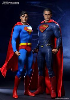 This is messed up. Reeve was taller than Cavill. Too bad the scale isn't correct Superman Man Of Steel, Batman Vs Superman, Black Superman, Comic Book Heroes, Comic Books Art, Book Art, Clark Kent, Christopher Reeve Superman, Superman Birthday Party