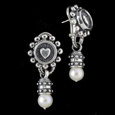 Beaded Heart Earrings with Pearls Drops BC by BowmanOriginals, $475.00