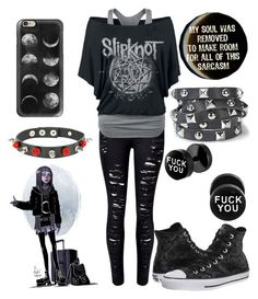 """Sarcastic Emo B!tch"" by the-uninportant-emo ❤ liked on Polyvore featuring WithChic, Casetify, Converse, Presh and emo"