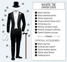 Frackkostymen innebär frackjacka, frackbyxor, vit frackskjorta och vit fluga, vit väst.