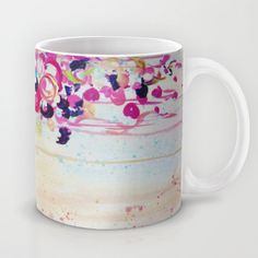 DANCE OF THE SAKURA - Lovely Floral Abstract Japanese Cherry Blossoms Painting, Feminine Peach Blue  Mug by EbiEmporium - $15.00 #bold #colorful #cup #modern #home #decor #decorative #kitchen #accessories #gift #abstract #tea #art #radiant #orchid #purple #pink #feminine #girlie #floral #flowers #girly #pretty #sweet