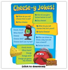 Make someone laugh today with these cheesey jokes! #maclarry