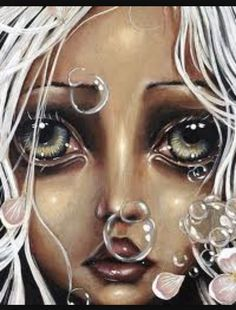 """Water Lily"" by Angelina Wrona - An amazing artist. ""Angelina's detailed imagery and individual style has been described as exciting, gothic, spooky and even humorous as the exaggerated eyes of the subjects draw you into their unexpected worlds. Street Art, Decoupage, Pop Surrealism, Canadian Artists, Water Lilies, Stretched Canvas Prints, Big Eyes, T 4, Amazing Art"