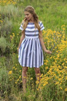 KAI Striped Dress Blue & White