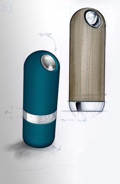 Sketch of electric salt and pepper mills ALASKA,  by http://www.nicolasbrouillac-designer.fr/