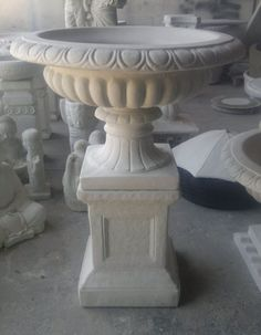 Concrete Hapsburg Urn on Classic Pedestal / Planter Garden Outdoor