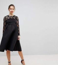 ASOS Maternity ASOS MATERNITY Lace Long Sleeve Crop Top Prom Dress. #ad