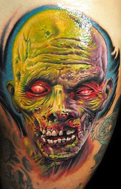Colorful zombie tattoo by James Tattoo Art. I love this!