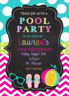 Pool+Party+Birthday+Party+invitations+printable+or+by+noteablechic,+$9.50