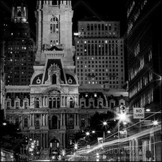 Black and White Picture of the North Side of Philadelphia City Hall