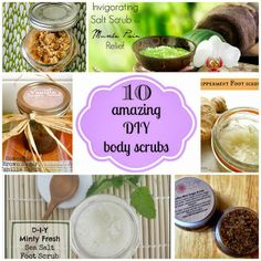 10 Amazing DIY Body Scrubs. Perfect for the holidays, store it in a cute jar, homemade gifts!