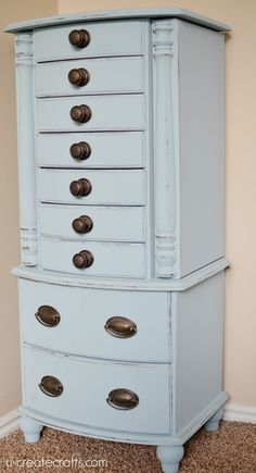 Jewelry Armoire Makeover. Cute painted furniture idea!