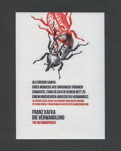 Kafka Metamorphosis German Letterpress Print by 2CrowPress on Etsy