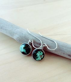 Silver and hand painted stones earrings tiny silver by SPIRALICA