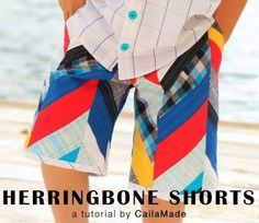 Herringbone shorts to sew for boys and 25 DIY Summer Clothes for Kids