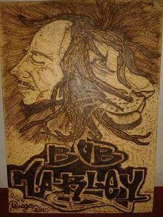 Bob Marley pirografado.