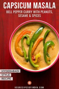 Want curry for dinner tonight? Try this capsicum masala! We will show you how to make this delicious Indian gravy recipe that comes from the Hyderabadi cuisine. Filled with bell peppers and spices, this dish is sure to be a hit! Stuffed Capsicum Vegetarian, Easy Vegetarian Curry, Vegetarian Recipes Easy, Curry Recipes, Veggie Recipes, Dinner Recipes, Indian Gravy Recipe, Masala Recipe, Veg Recipes Of India