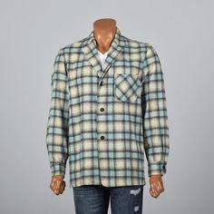 Medium Mens Jacket, 1950s rockabilly shirt jacket. blue plaid wool. vintage menswear, men's style, mens fashion