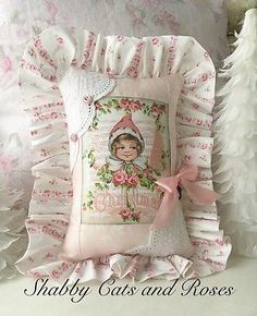 Vintage Girl Christmas Pillow~Pink Roses~Embroidered Trim~Ribbon~Buttons