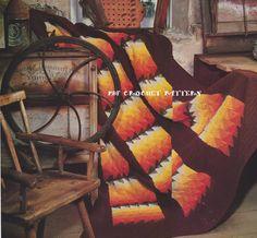 🎯 Manta Janela Outono Crochetar Clássica -  /  🎯 Blanket Vintage Crocheting Autumn Window -