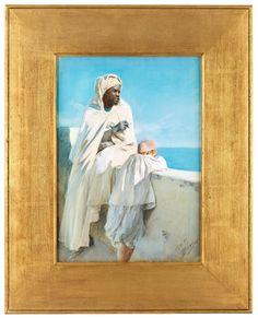 Anders Zorn - På Terassen Alger 1887 akvarell Bukowskis