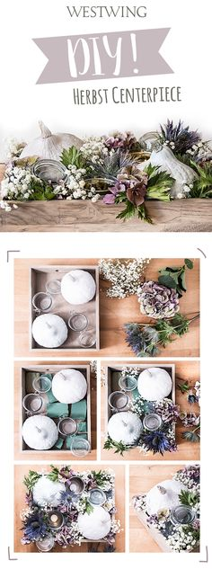 Step-by-Step Guide to - DIY Herbst Centerpiece - Deco Floral, Arte Floral, Fall Crafts, Diy And Crafts, Thanksgiving Decorations, Christmas Decorations, Creation Deco, Diy Centerpieces, Deco Table