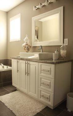 Love this bathroom! Paint - Intellectual Gray by Sherwin Williams. Soothing.