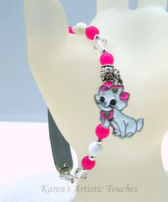 Karen's Artistic Touches Store - Marie Kitty Cat Charm Crystal Swarovski Pink Beaded Medical Alert Bracelet, $17.99 (http://www.karensartistictouches.com/marie-kitty-cat-charm-crystal-swarovski-pink-beaded-medical-alert-bracelet/)